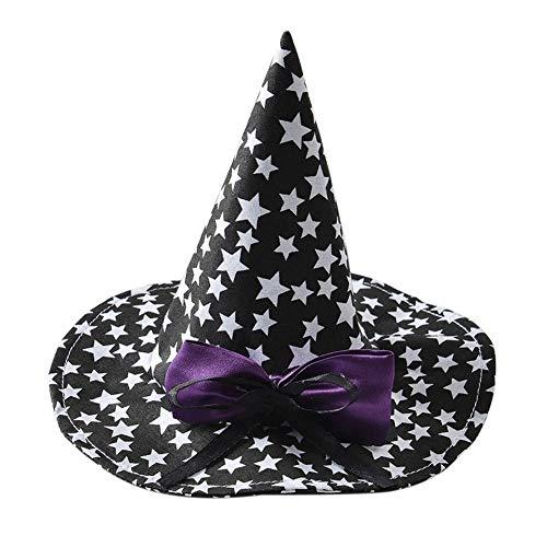 Leezo Halloween Pet wies Hüte mit Sternen Muster und Bogen Knoten, Festival Cat Puppies Wizard Hüte Weihnachten Cosplay Kostüm Zubehör Party Supplies