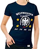Damen T-Shirt - Weltmeister Deutschland 54 74 90 14 Dunkelblau-Weiss S
