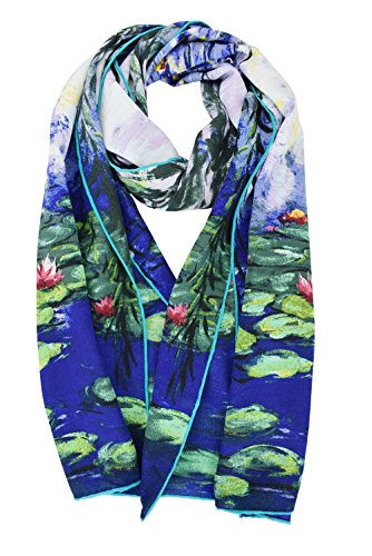 elegna Luxuriöse 100% Charmeuse Seide Art Collection lang Schal mit Hand gerollt Rand Gr. M, Blau - Claude Monet's