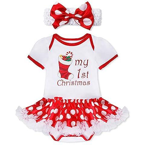 YiZYiF 2tlg. Baby Mädchen Kleid Weihnachten Bekleidung Set Strampler Tütü Bodys + Kopfband Weihnachtsgeschenk für 0-12 Monate #1 Weihnachtssocke 9-12