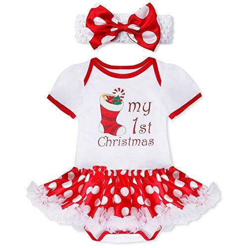 (YiZYiF 2tlg. Baby Mädchen Kleid Weihnachten Bekleidung Set Strampler Tütü Bodys + Kopfband Weihnachtsgeschenk für 0-12 Monate #1 Weihnachtssocke 0-3 Monate)