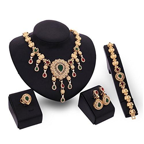 (JAGENIE Damen Fashion Party Strass Halskette Anhänger Armband Ohrringe Ring Set)