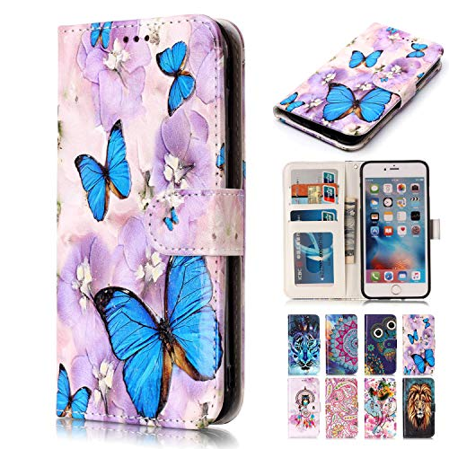 Rose-Otter Kompatibel für Apple iPhone 5 5S SE Hülle Leder Handyhülle Wallet Flip Case Kartenfach Klappbar Stoßfest Bumper Schutzhülle Tasche mit 3D Muster - Blauer Lila Schmetterling