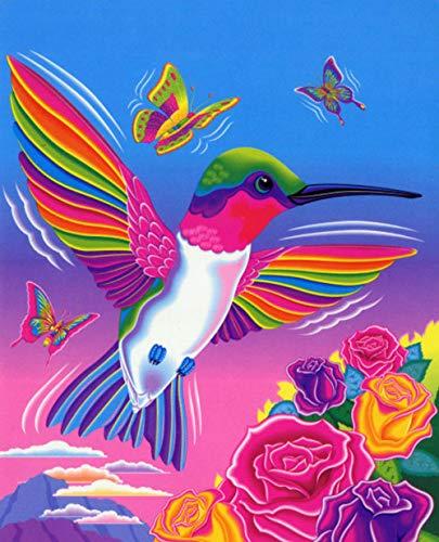 DIY 5D Diamant Maler-Set, bunte Vogel Kristalle Stickerei Kreuzstich Zauberbaum Reflexion Kunst Basteln für Leinwand Wand Dekoration 30x40 cm