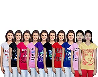 Indistar Women's Cotton Printed T-Shirts Combo (Pack of 10)
