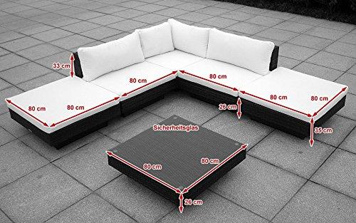Baidani Gartenmöbel-Sets 10c00002.00002 Designer Rattan Lounge Sunqueen, 1 Sofa, 1 Beistelltisch mit Glasplatte, braun - 2