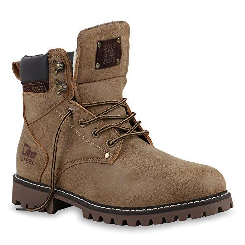 Herren Worker Boots | Leicht Gefütterte Schuhe | Schnürboots Outdoor | Schnürschuhe Profilsohle | Wildleder-Optik Schnürer | Flandell®