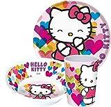 Hello Kitty Kinderservice mit Teller, Müslischüssel und Trinkbecher aus Melamin