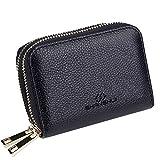 SHANSHUI Damen Kreditkartenetui aus echtem Leder mit RFID Schutz Schwarz