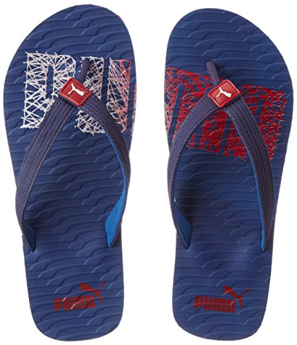 Puma Unisex Miami Fashion II Dp True Blue, Barbados Cherry and Puma White Hawaii Thong Sandals - 7 UK/India (40.5 EU)