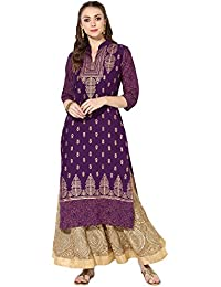 Zoeyams Women's Purple Cotton Block Prints Long Straight Kurti
