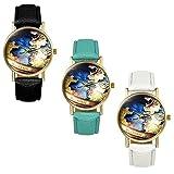 Lancardo 3pcs Damen Mädchen Weltkarten Uhr, Leder Armbanduhr, Ultra dünnes Analoge Quarz Damenuhr mit modische Zeitlos Design, weiss schwarz hellsgrün