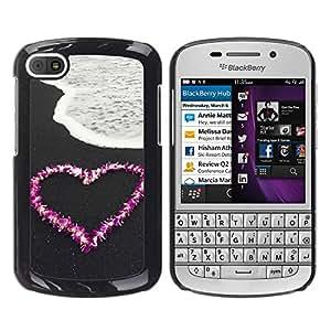 TORNADOCOVER Unico Immagine Rigida Custodia Case Cover Protezione Per SMARTPHONE BlackBerry Q10 - Amore Fiore spiaggia cuore