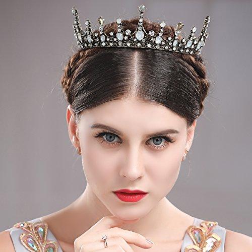 aukmla Krone Tiara Hochzeit Baroque Crown Queen für Hochzeiten Proms schönheitswettbewerbe Prinzessin Parteien Geburtstag (Gold Queen's Tiara)
