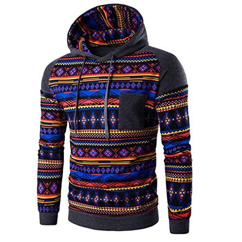 Herren Böhmen Retro-Langarm Hoodie Amlaiworld Sweatshirt mit Kapuze (L, Grau)