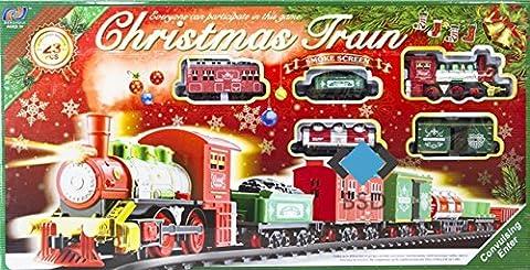 Chemin de fer réglé électriquement Christmas Train - Train à vapeur, 6 voitures et accessoires - pistes pour environ 430 cm - locomotive électrique - 23