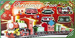 eisenbahn elektrisch set christmas train dampflokomotive 6 wagen und zubeh r schienen ca. Black Bedroom Furniture Sets. Home Design Ideas