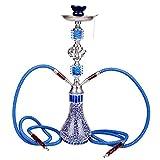 DXP Narghilè Hookah 2 Tubi 55cm Shisha Con Pinze Carbone E Di Accessori Blu