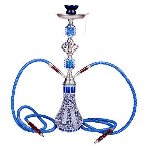 Kertou Wasserpfeife Shisha Hookah mit 2 Schläuchen Ca.55cm Inkl. Kohlezange und Zubehör (Blau)