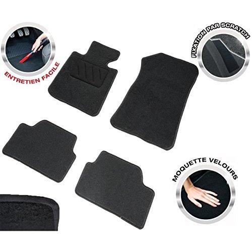 DBS 1765685 Tapis Auto - Sur Mesure - Tapis de sol pour Voiture - 4 Pièces - Moquette noir 600g/m² - Gamme One