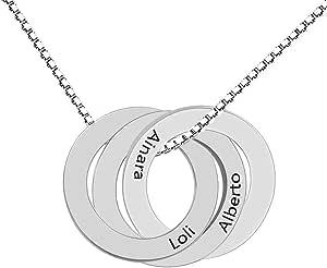Collana Circle personalizzata con 3 nomi - Collana disco personalizzata per mamma