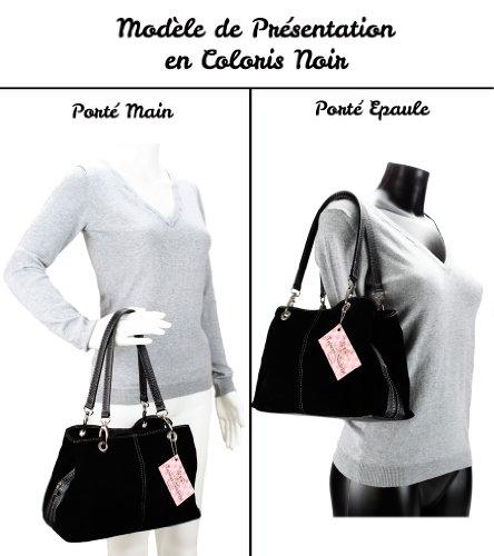 Mon Sac Cuir–Borsa a mano in crosta di cuoio–Modello Olga Rosa (Fuchsia Anses Couleur Noir)