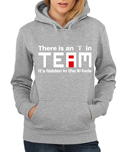 """-- There is an """"i"""" in Team -- Girls Kapuzenpullover Sports Grey"""
