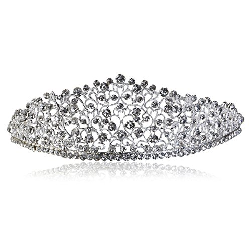 ULTNICE Crystal Wedding Bridal Bridesmaid Crown Tiara Princess Rinestone Headband for Party