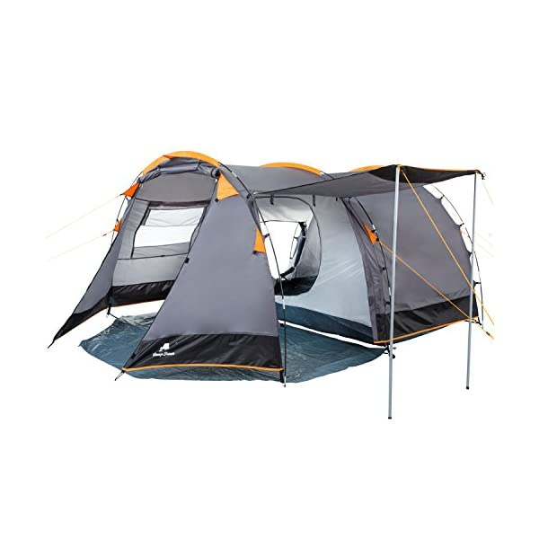 CampFeuer - Tunnel Tent, 410 x 260 x 150 cm, 4 Person, Orange / Grey / Black 3
