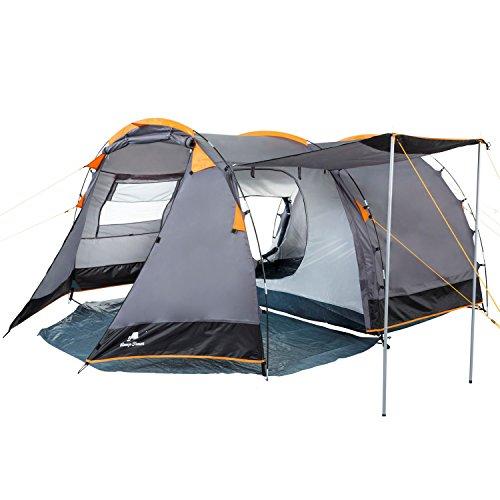 CampFeuer Tunnelzelt für 4 Personen | Großes Familienzelt mit 2 Eingängen und 3.000 mm Wassersäule | Gruppenzelt | grau | Campingzelt | So macht Camping Spaß! - 3