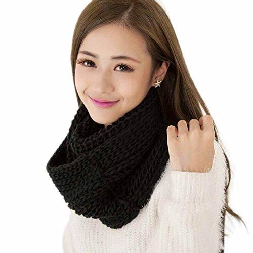 zolimx Bufanda de las mujeres, Lana de invierno cálido 2 círculo bufanda larga de punto (Talla única, negro)