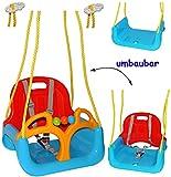 alles-meine.de GmbH mitwachsende - Babyschaukel / Gitterschaukel mit Gurt -  ROT / GELB / BLAU  - leichter Einstieg ! - mitwachsend & verstellbar - 100 kg belastbar - Kinderschaukel ab 1 Jahre - mit Rückenlehne & Seitenschutz - Schaukel für Kinder - Innen und Außen / Garten - für Baby´s - aus Kunststoff / Plastik - Kunststoffschaukel - Mitwachsschaukel bunt - Sicherheitsgurt - Gitterschaukel / verstellbare Kleinkindschaukel - Baby - Indoor Outdoor