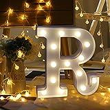 Lettera alfabeto Bescita LED luci Light Up bianco plastica lettere in piedi da appendere A-Z for birthday wedding party bar decorazione della camera da letto interni R
