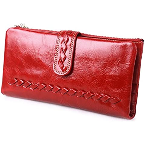 Itslife olio cerosa da donna, a cerniera-Portafoglio in pelle, con porta carte di credito