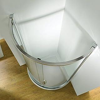 Bathroom Supastore Kudos Original Curved Sliding Shower Enclosure Side Access 1000 x 1000 with Concept 2 Shower Tray