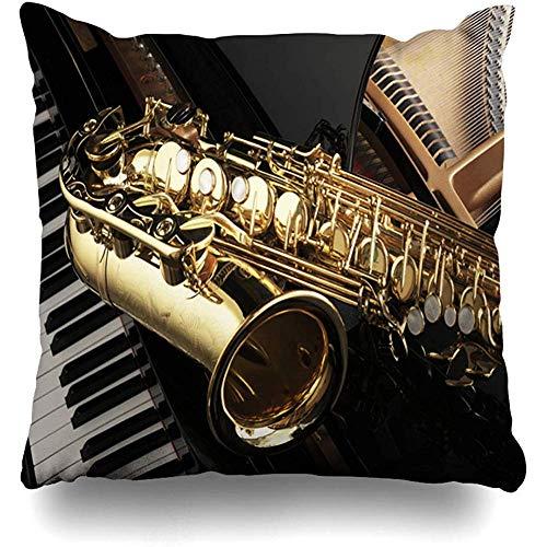 Throw Pillow Covers Event Musik Altsaxophon Am Flügel Musical Jazz Band Instrumentenunterricht Klassik Keyboard Couch Dekokissenbezüge Home Kissenbezug Pillowslip Kissenbezug Home Decor Gemütlic
