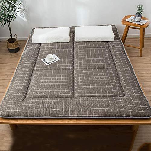 VICKI Futon Bodenmatratze, Tatami Matratze rutschfest Faltbar Schlafen Pad Tragbar Camping Matratze für Wohnheim Wohnzimmer (Color : Brown, Size : Queen)