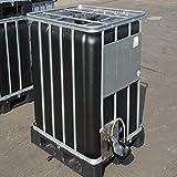 IBC Wassertank 1000l, Neue Blase Schwarz ( UV-Schutz) auf Stahl/PE-Palette mit Weidetränke und Verbindungsset Gitterbox gebraucht.