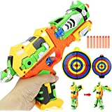 Soft Bullet Toy Gun With Robot Telescope Ultra Long Range Transformation Robot Blaster Kids Soft Bullet Toys Gun With Goggles And Dart Board & Gifts For 6+ Children ( Battery Not Required )