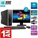HP PC Compaq Pro 6300 SFF I7-3770 8Go 240Go SSD Graveur DVD WiFi W7 Ecran 17'