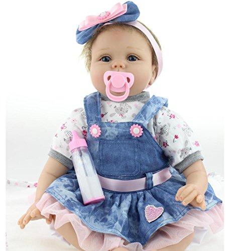 ZIYIUI Weiche Silikon Reborn Babypuppe Lebensechte Mädchen Junge Puppe 22