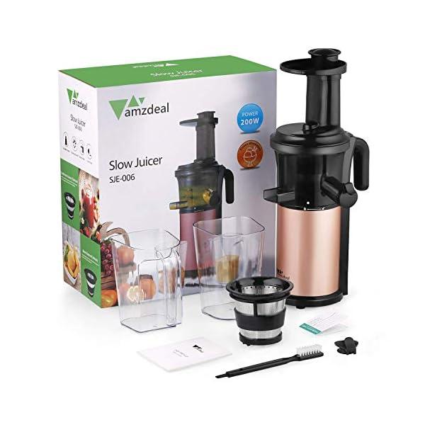 Amzdeal Estrattore di Succo di Frutta e Verdura-Estrattore di Bassa Velocità, Sistema Anti-intasamento Anti-sgocciolamento senza BPA, Estrattore di Succo a con Tazza di Succo - 2021 -
