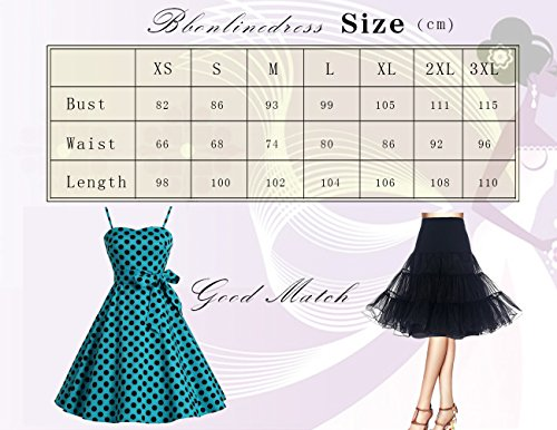 Bbonlinedress Vintage 50s 60s Retro Rockabilly Cocktailkleid mit abnehmbarem Schultergurt RoyalBlue White Dot XL - 5