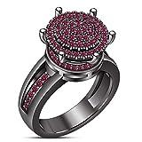 Vorra Fashion Plata Fina 925 Plata de Ley Redonda Pink Zafiro sintético