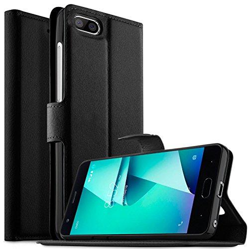 KuGi DOOGEE X20L Hülle Case, DOOGEE X20L Wallet Case, Brieftasche Case Hülle PU Kunstleder Flip Case mit Standfunktion Kartenfächer und Bargeld für DOOGEE X20L Smartphone.Schwarz