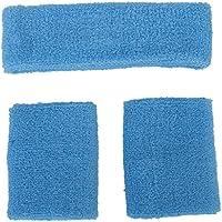 SODIAL(R) Conjunto de munequeras y diadema contra el sudor, unisex - Azul