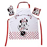 Das Geschenk für den Walt Disney Minnie Mouse Fan: Kochschürzenset mit Minnie Maus Mini Minie Schürze 100% Baumwolle