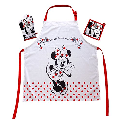 n Walt Disney Minnie Mouse Fan: Kochschürzenset mit Minnie Maus Mini Minie Schürze 100% Baumwolle ()