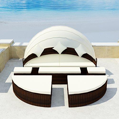 LD Sun Island Poly Rattan Lounge Sun Lounger Garden Lounge Garden Lounger Seat Set
