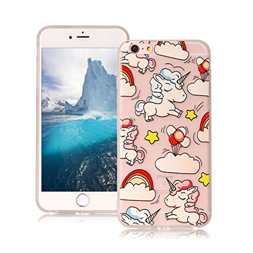 AllDo Custodia in Silicone per iPhone 6/6S Cover Gomma TPU Custodia Protettiva Transparent Clear Case Bumper Cover Morbida Flessibile Custodia Gel Traslucido Caso Liscio Leggero Cassa Ultra Sottile Cu Unicorno Carino